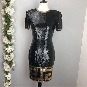 A J Bari Vintage Black & Gold Sequin Dress